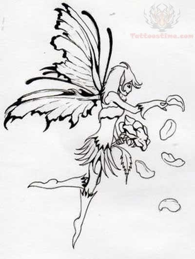 Lower Back Fairy Outline Tattoo Design