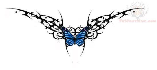 butterfly lower tribal for back tattoos Lower Tattoo On Tribal Back Design And Butterfly