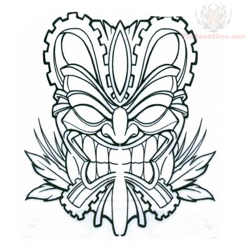 tiki mask with bones tattoo design