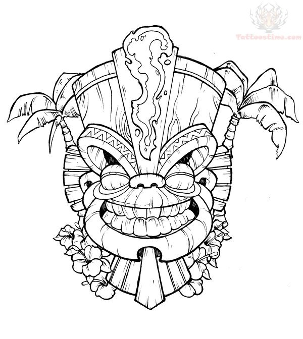 Tiki Tattoos Page 42 Tiki Mask Coloring Pages