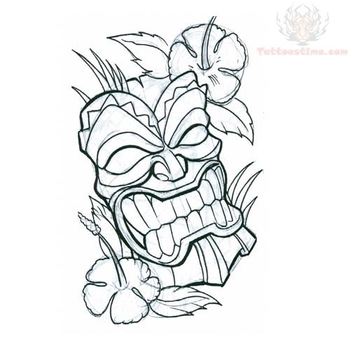 Tiki Mask With Flower Tattoo Design