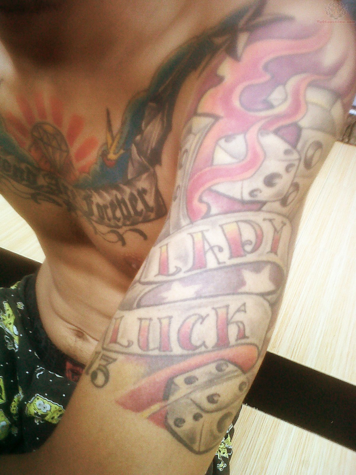 Lady Luck & Flaming Dices Gambling Tattoos