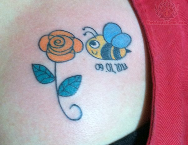 Memorial Bee And Rose Tattoo On Back Shoulder