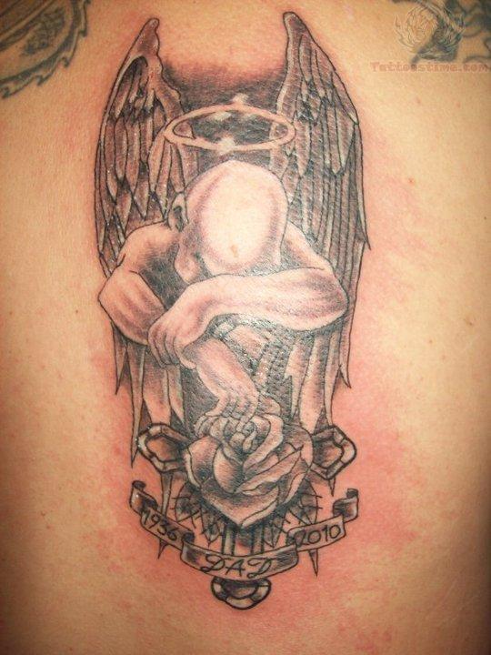 Memorial Rose And Sad Angel Tattoo