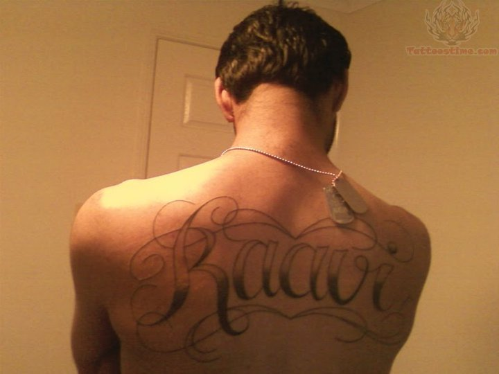 Raavi - Name Tattoo On Back