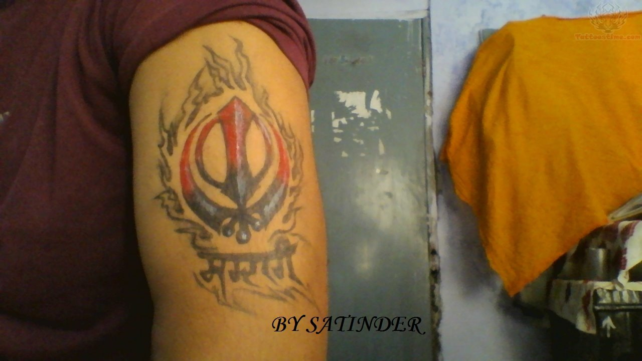 Sardari - Flaming Khanda Tattoo On Bicep