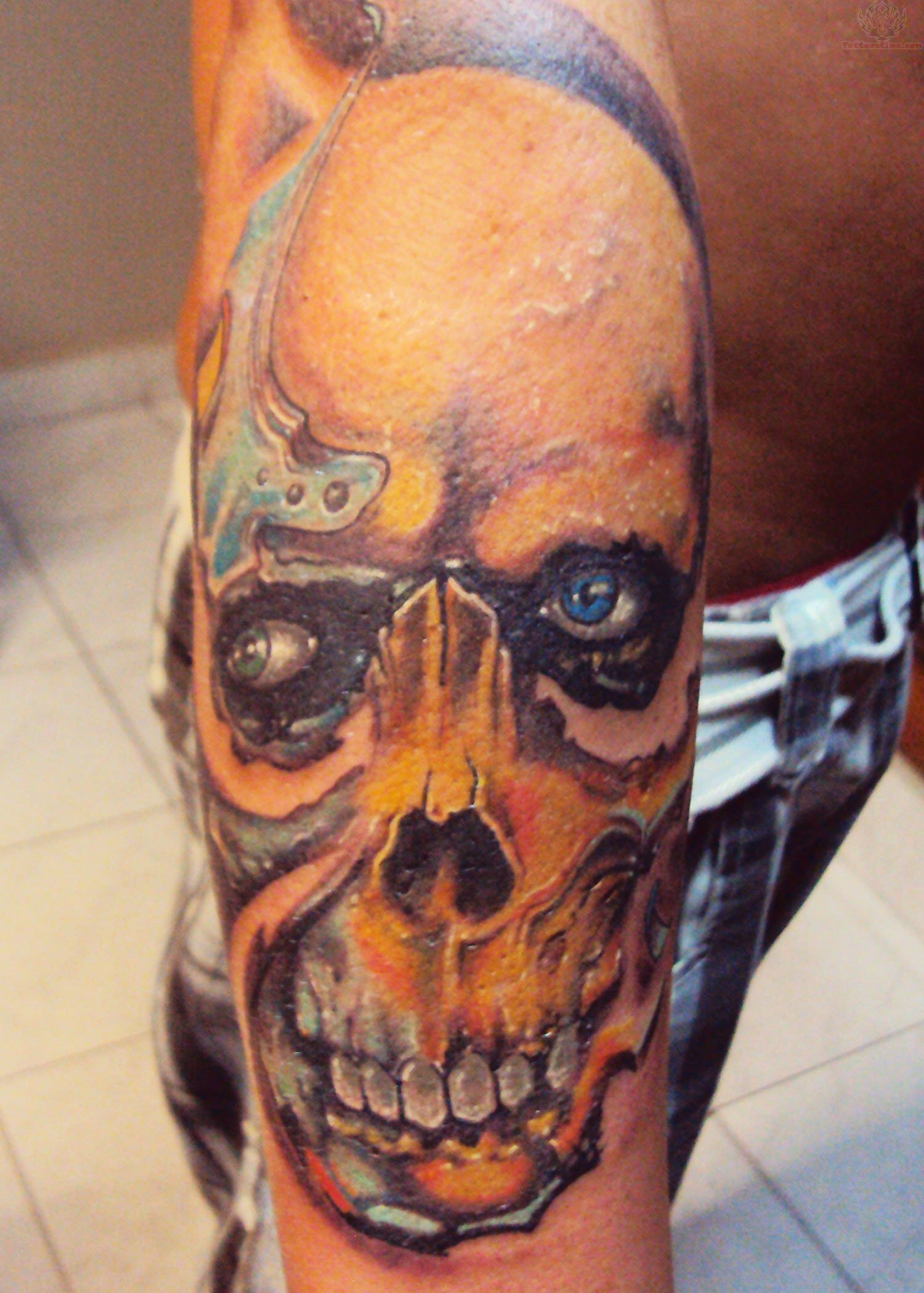 Zombie Skull Tattoo On Arm