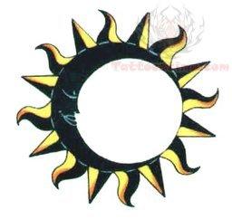 Sun Moon Ring Belly Button Tattoo Design