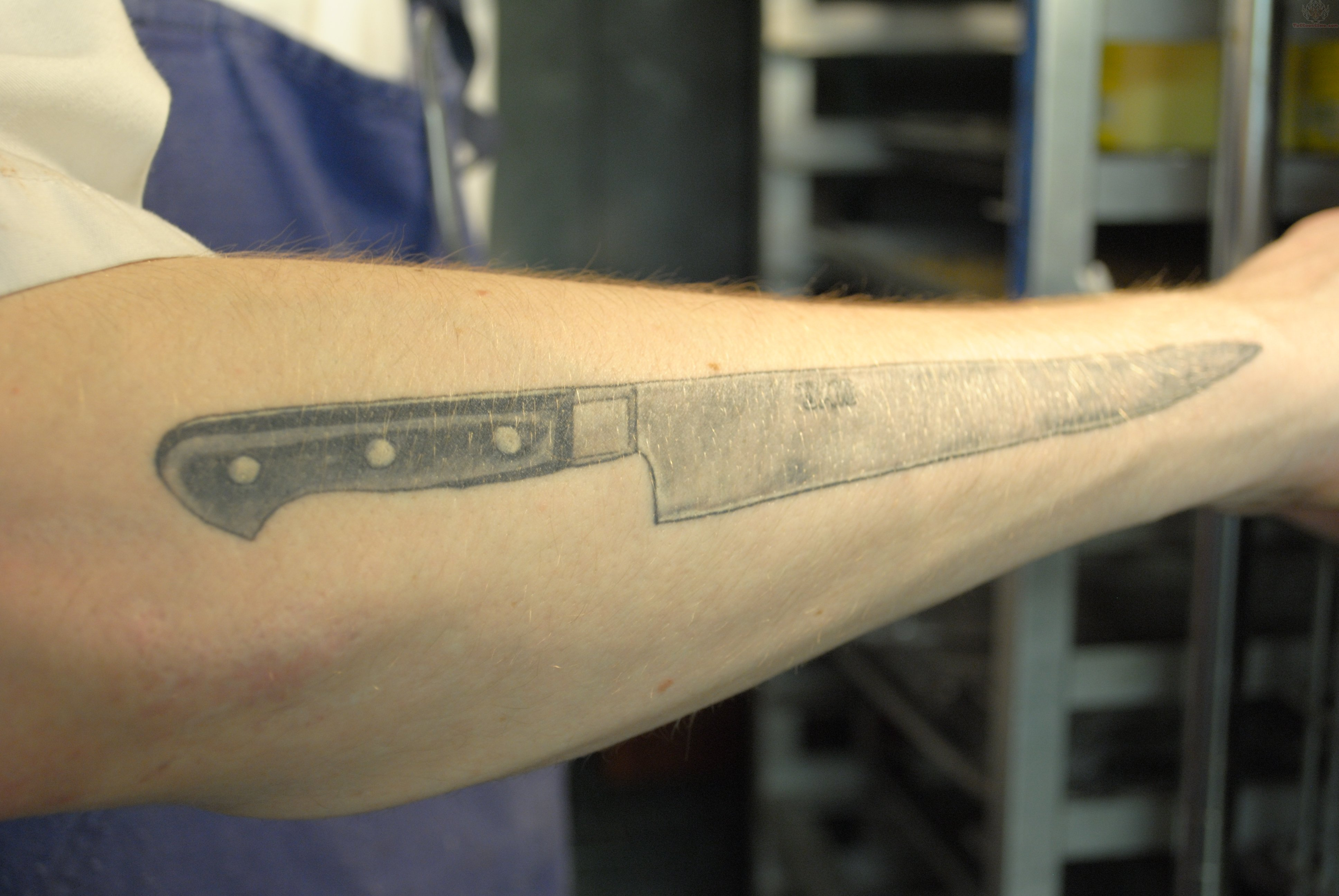 chef knife tattoo on right arm. Black Bedroom Furniture Sets. Home Design Ideas