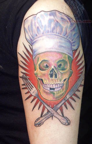 Chef Skull And Fork Knife Tattoo