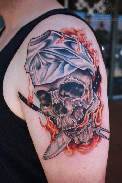 Skull And Chef Knife Tattoo On Neck
