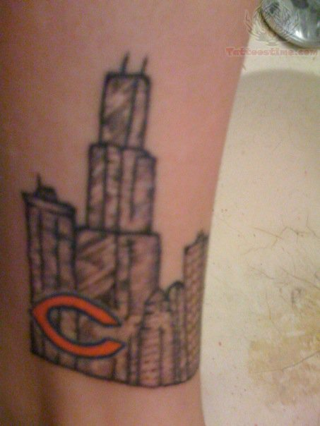 chicago bears logo and building tattoo on leg. Black Bedroom Furniture Sets. Home Design Ideas
