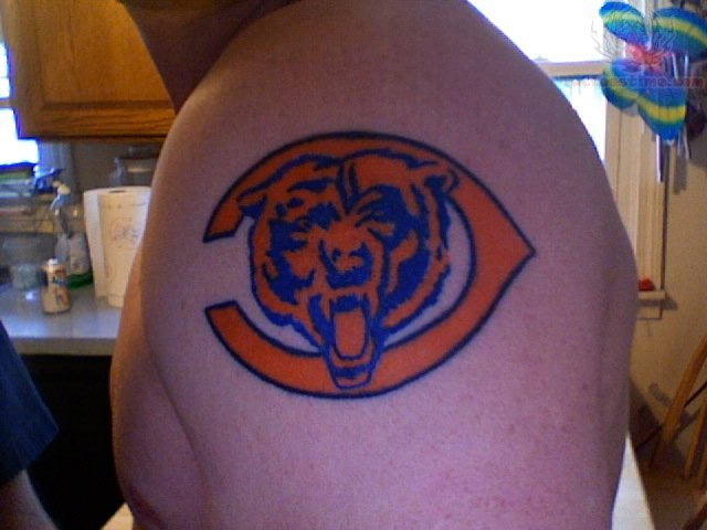Chicago Bears Logo Tattoo On Shoulder