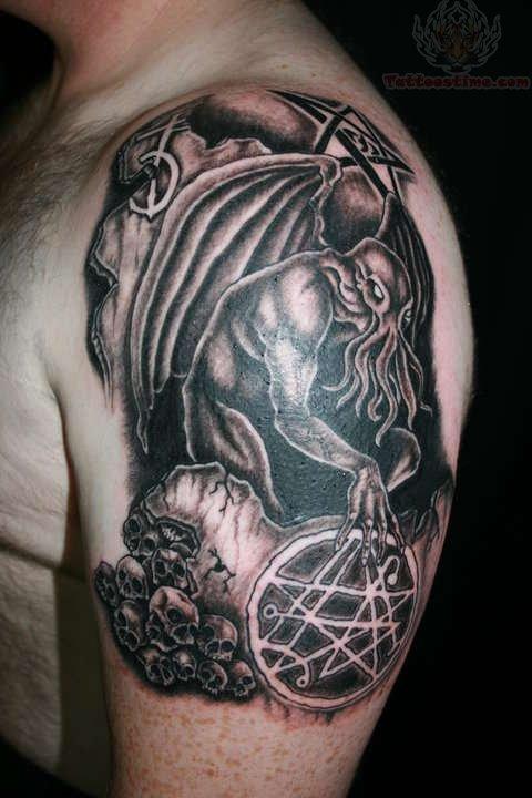 Cthulhu And Pentagram Tattoo
