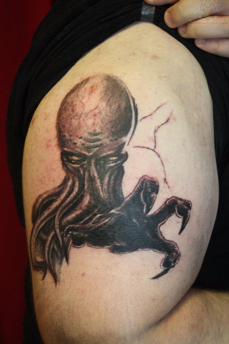 Cthulhu Tattoo On Biceps