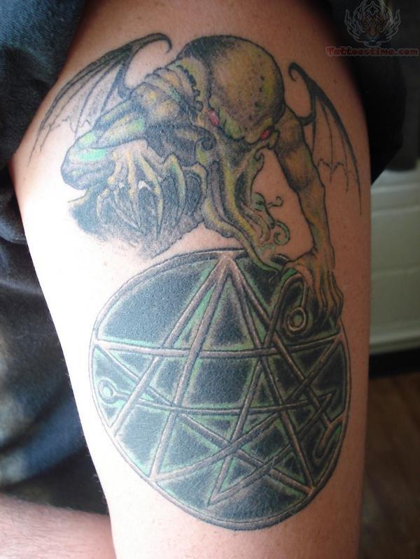 Pentagram And Cthulhu Tattoo
