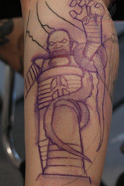 Cthulhu Men Tattoo On Leg
