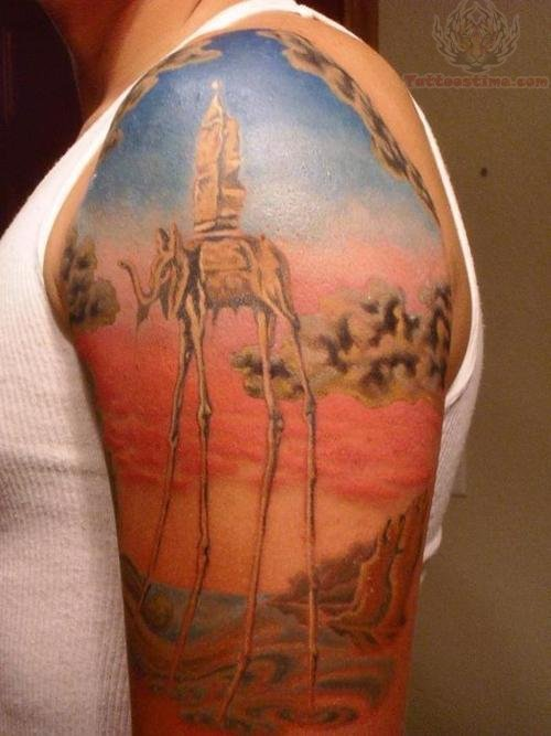 colorful dali elephant on half sleeve
