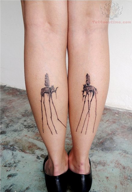 Dali Elephant Tattoo On Back Legs