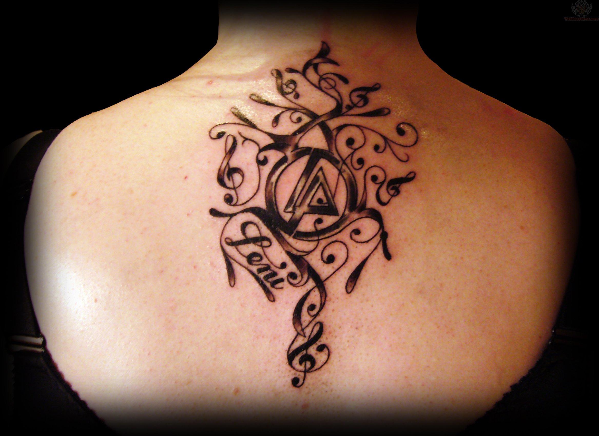 Linkin park symbols tattoo on upperback linkin park upperback shoulder tattoo biocorpaavc