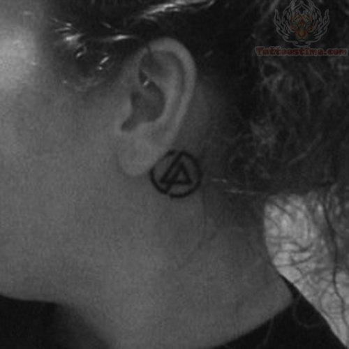 Small Linkin Park Logo Tattoo Behind Ear