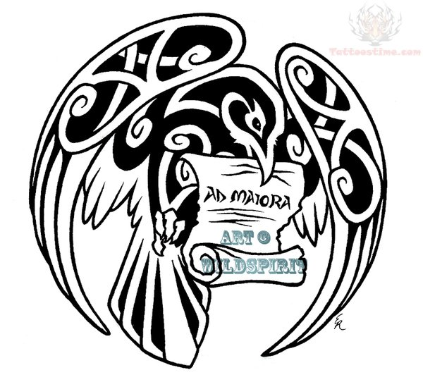 Norse Raven Design Celtic Flying Raven With