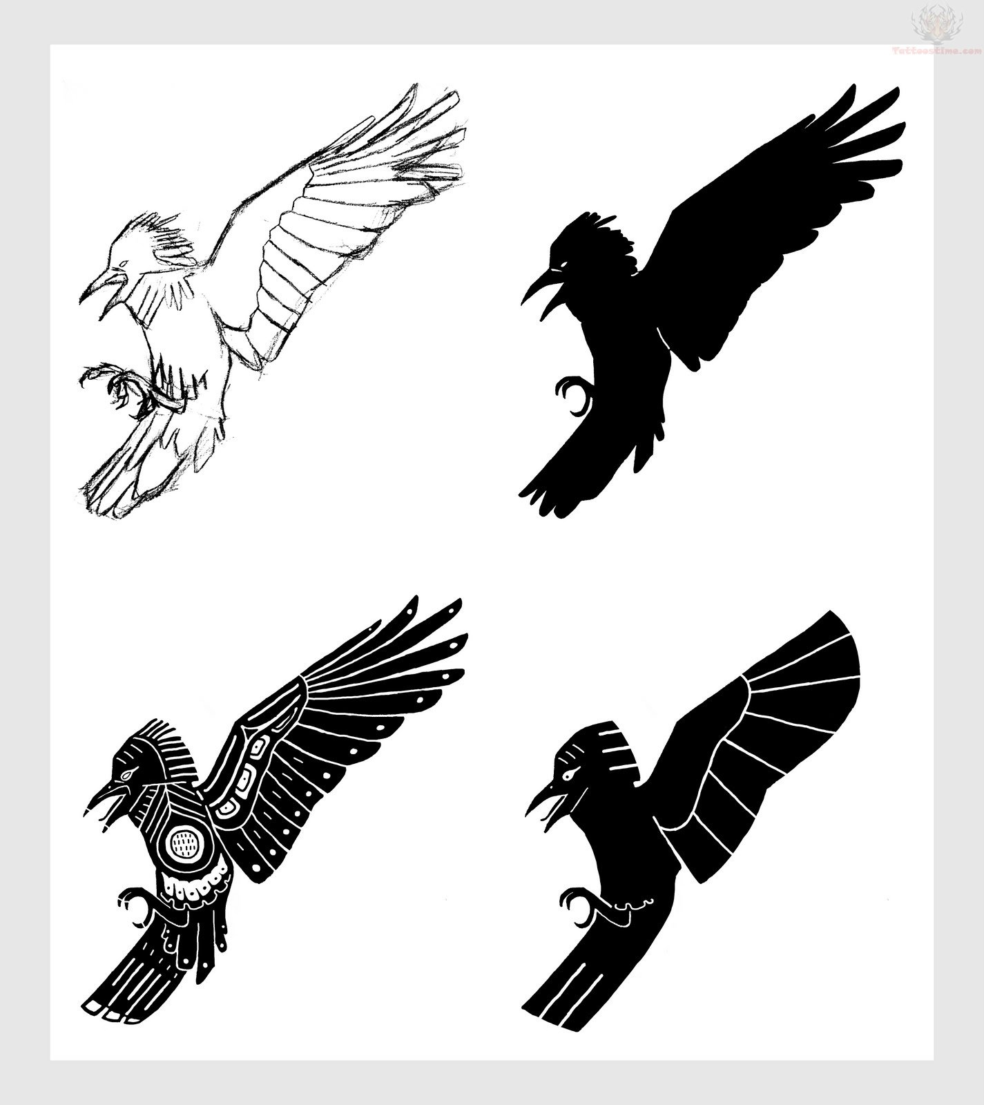 Flying crow silhouette tattoo