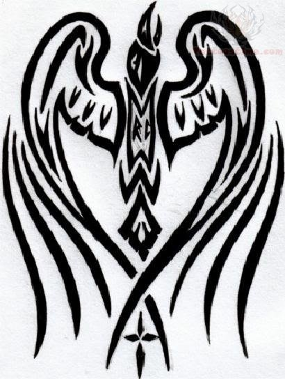 chest tattoos tribal large Tribal Wings Large Tattoo Design Raven