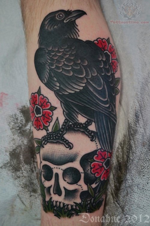 Raven and Skull Tattoo Designs