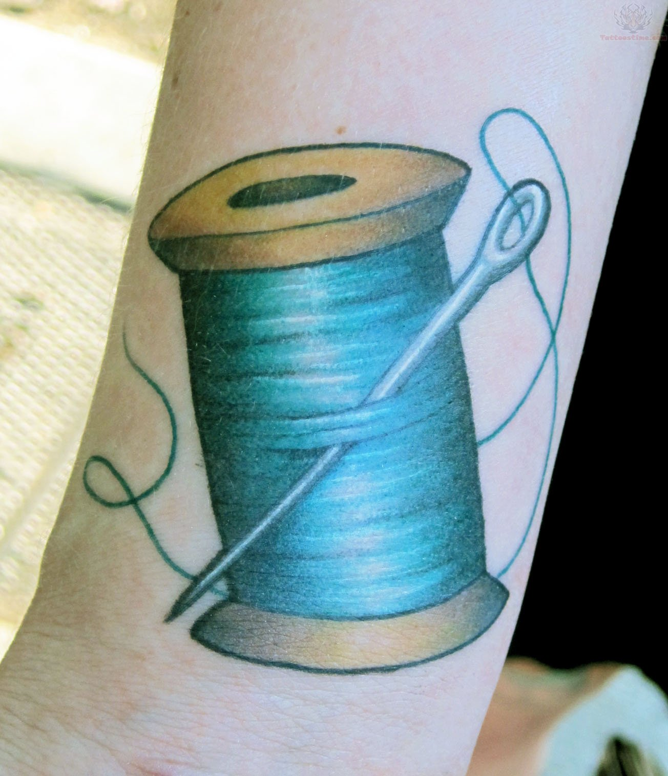 Blue Thread Spool And