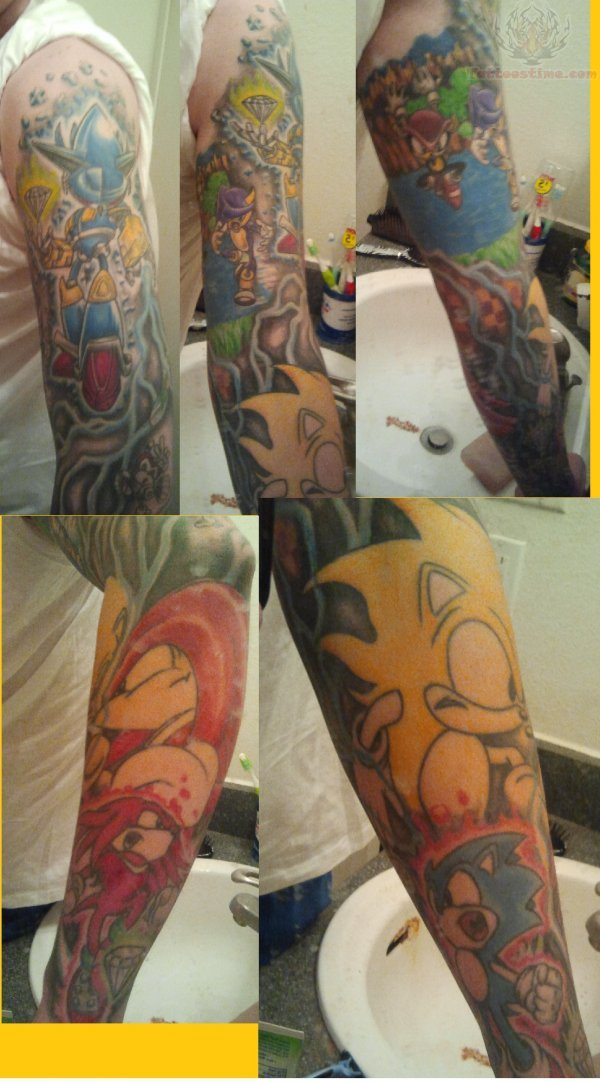 Sonic Tattoos On Sleeve
