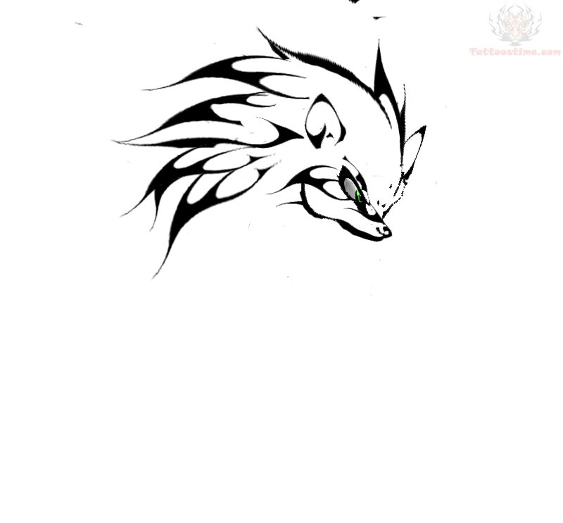 Tribal Sonic Head Tattoo Design