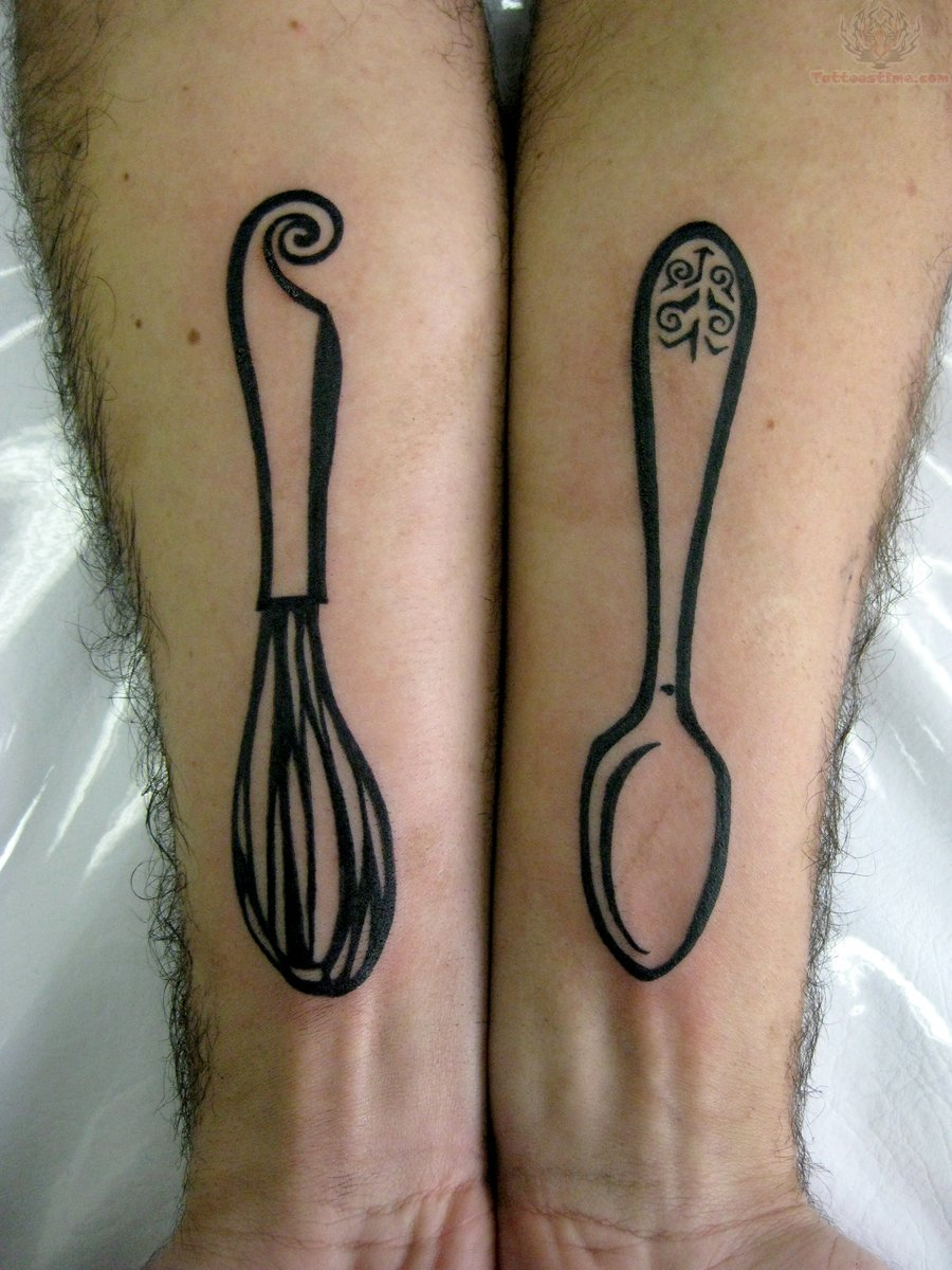 Whisker And Spoon Tattoos On Arm