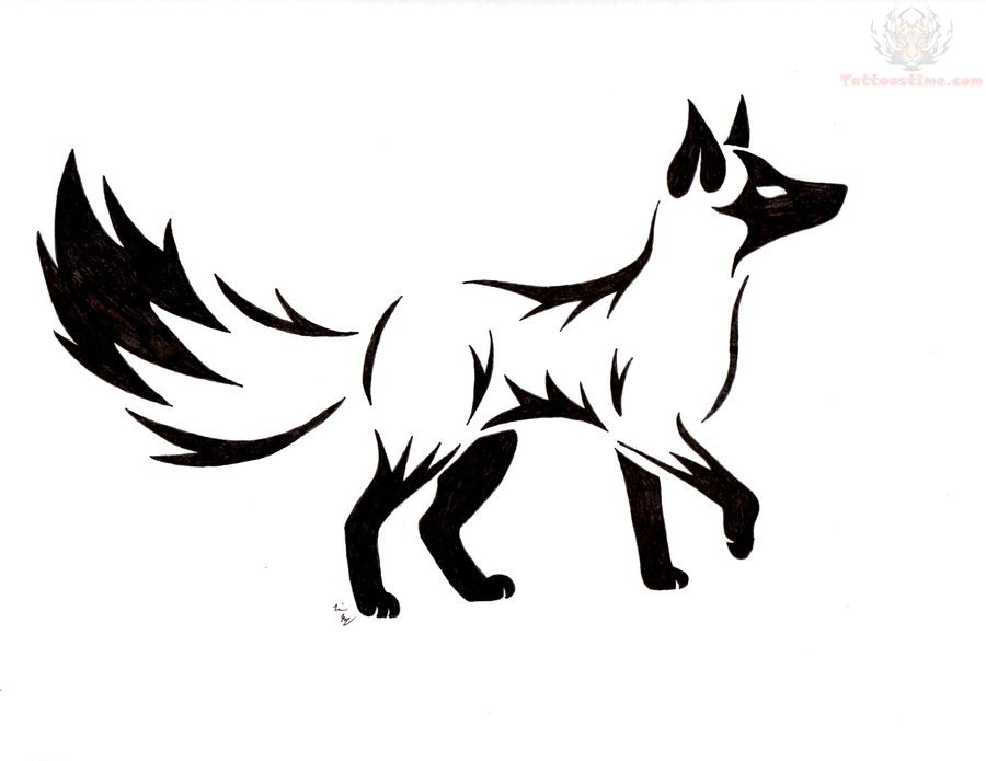 Fox Face Line Drawing : Black face fox tattoo design