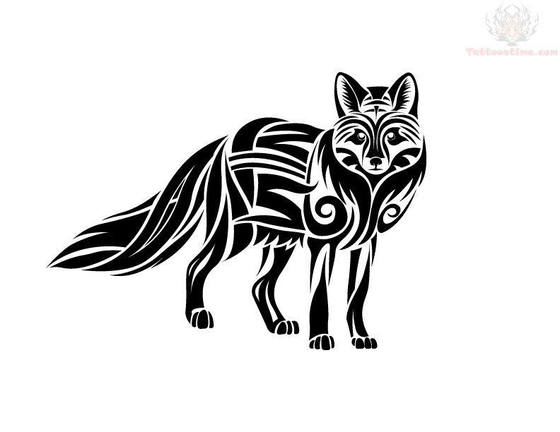 black face fox tattoo design