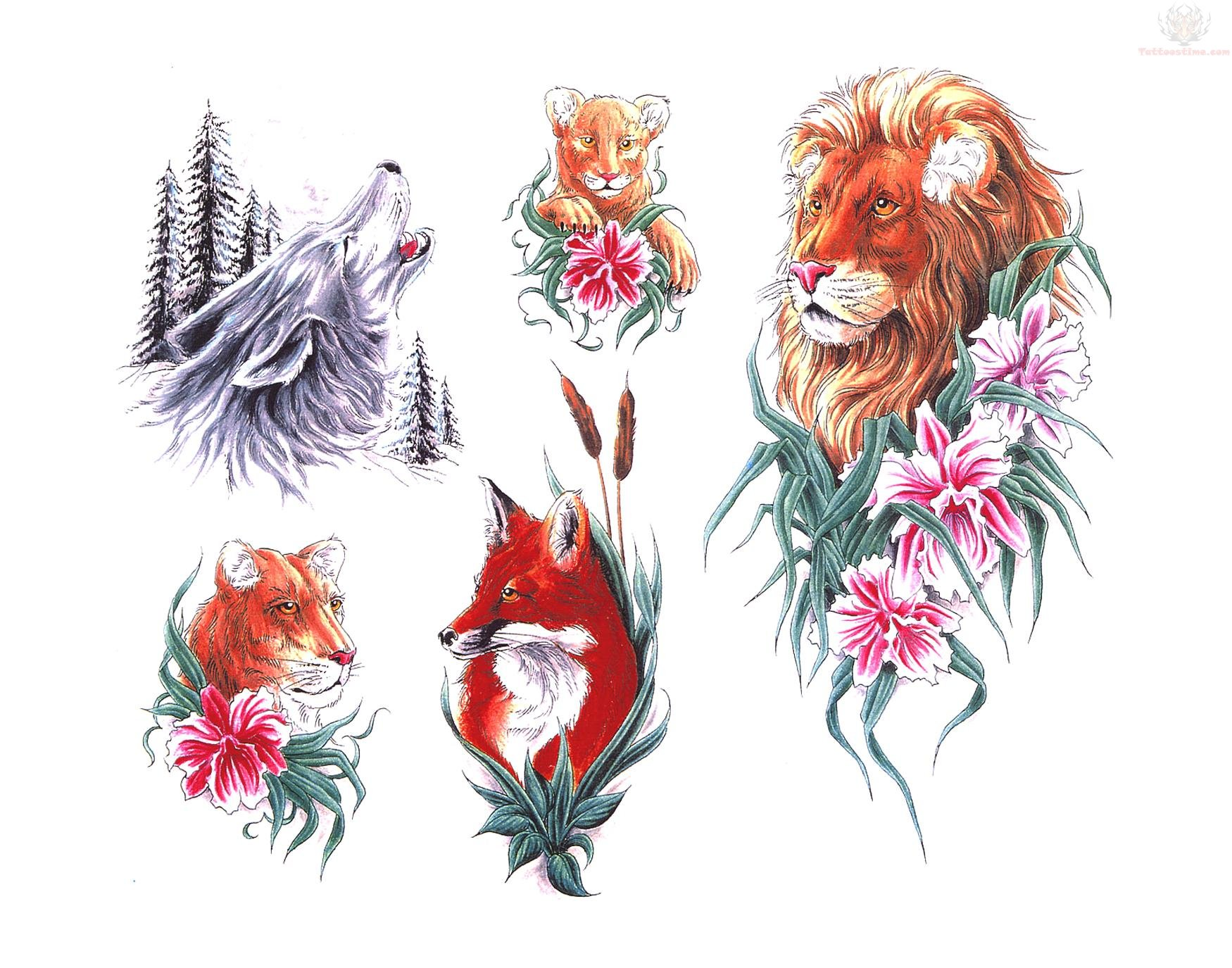 Flowers Leo, Wolf, Tiger And Fox Tattoo Designs