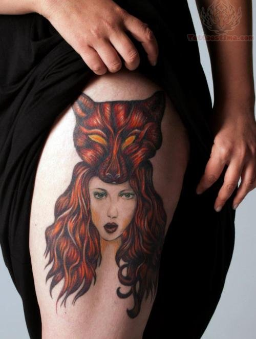 Girl with fox head tattoo images for Girl head tattoo