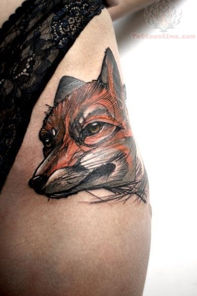 Fox tattoo images designs for Tattoos on side of head