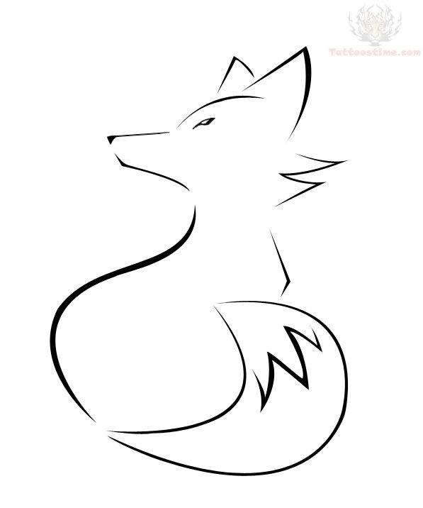 Line Drawing Fox : Outline fox tattoo design