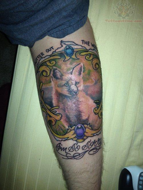 Running Fox Tattoo White Fox Tattoo on Back Leg