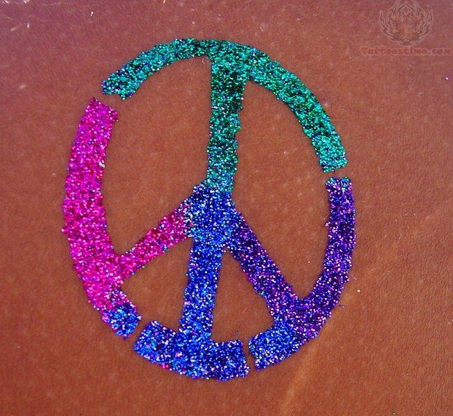 Glitter Colored Peace Symbol Tattoos