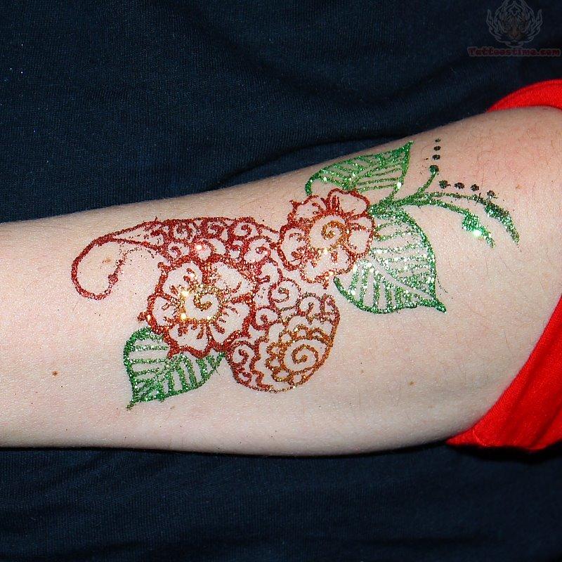 Henna Flower Tattoos: Glitter Tattoo Images & Designs