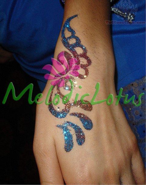 Henna Color Glitter Tattoo On Hand
