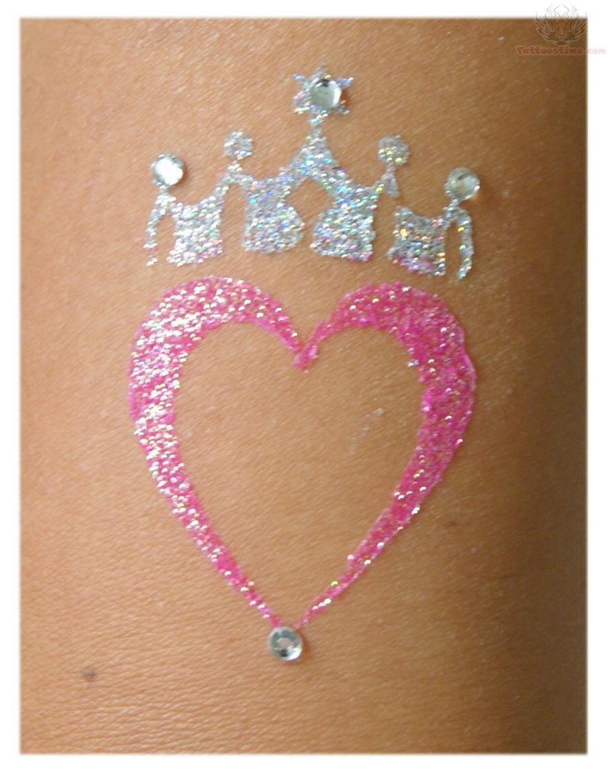 Pink Heart Crown Glitter Tattoo