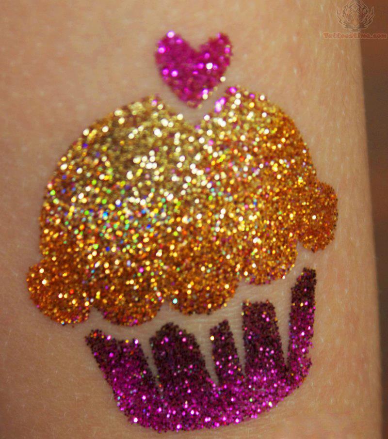 Tiny Heart And Cupcake Glitter Tattoo