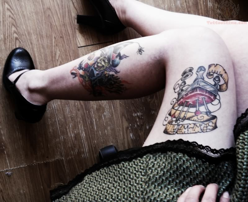 851581757 Knitting And Measure Tape Tattoo On Thigh