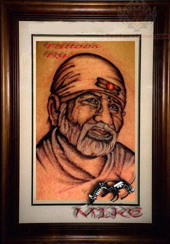 sai baba tattoo image. Black Bedroom Furniture Sets. Home Design Ideas
