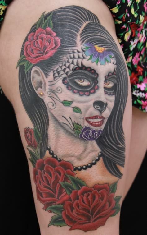 Colour dia de los muertos on shoulder for Dia de muertos tattoos