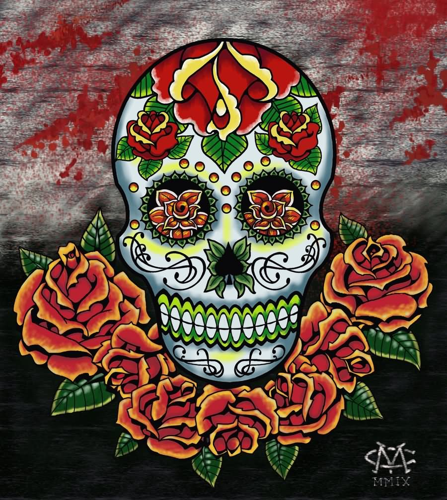 pin free download skull tattoo art gallery of dia de los muertos mexican on pinterest. Black Bedroom Furniture Sets. Home Design Ideas