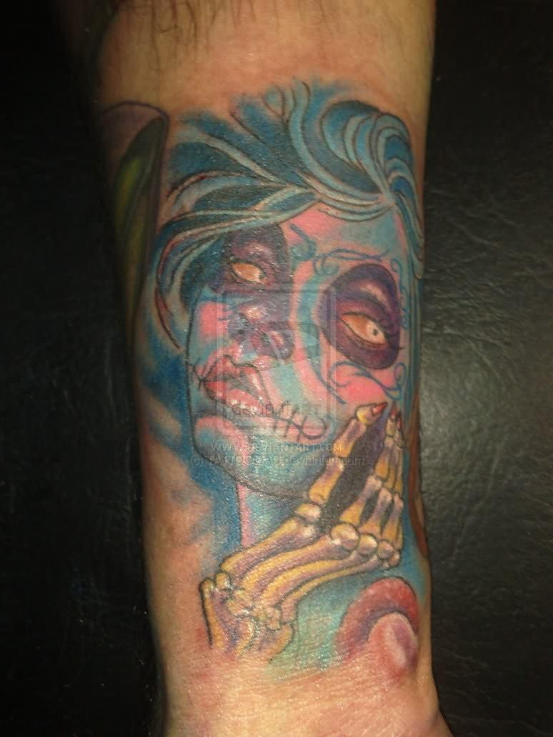 Dia de los muertos tattoo on arm for Dia de muertos tattoos